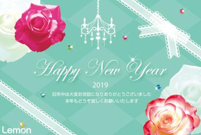 無料 2019年 おしゃれ年賀状 薔薇