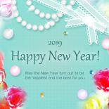 無料 2019年 おしゃれ年賀状 宝石と薔薇