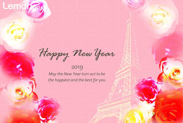 無料 2019年 おしゃれ年賀状 薔薇とエッフェル塔