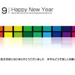 無料 2019年 デザイン年賀状 カラフル