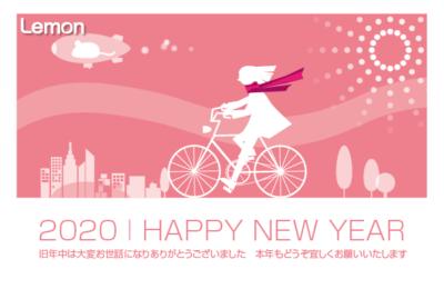 無料 2019年 デザイン年賀状 自転車 女性