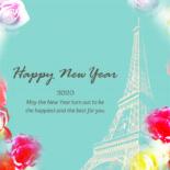 無料 2020年 おしゃれ年賀状 薔薇とエッフェル塔