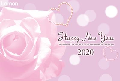 無料 2020年 おしゃれ年賀状 薔薇