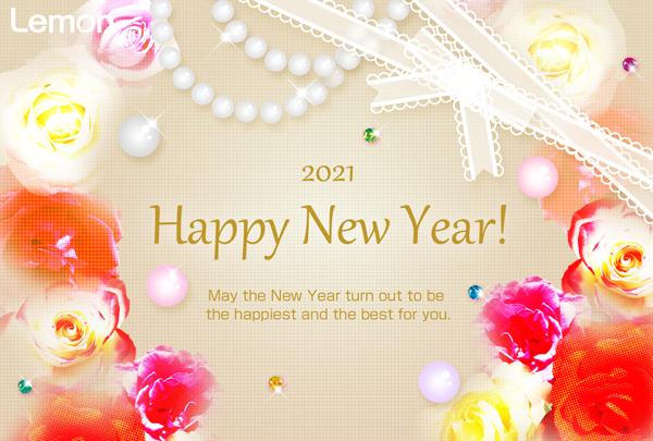 無料 2021年 おしゃれ年賀状 宝石と薔薇