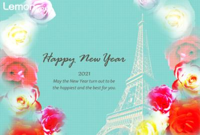 無料 2021年 おしゃれ年賀状 薔薇とエッフェル塔