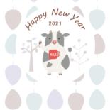 無料 2021年 デザイン年賀状 北欧風 牛