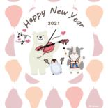 無料 2021年 デザイン年賀状 北欧風 バイオリン